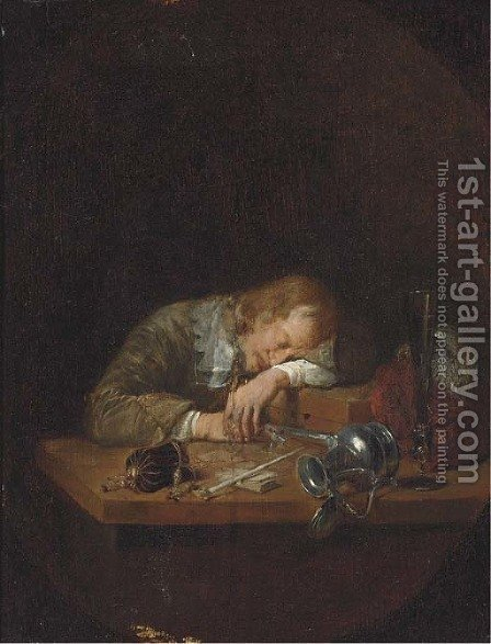A man asleep on a table by (after) Arie De Vois - Reproduction Oil Painting