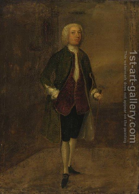 Portrait of a gentleman, traditionally identified as Philip Dormer Stanhope (1694-1773) by (after) Arthur Devis - Reproduction Oil Painting