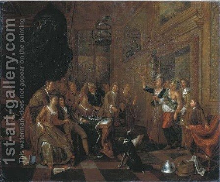 Elegant company feasting in an interior, a man dressed as Bacchus entering the room by (after) Balthasar Van Den Bossche - Reproduction Oil Painting