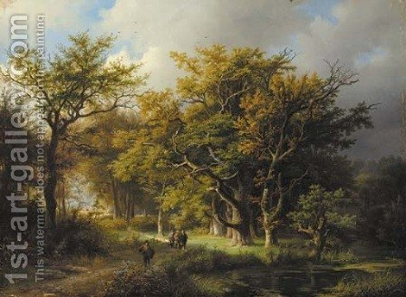 Sportsmen on a forest track by (after) Barend Cornelis Koekkoek - Reproduction Oil Painting