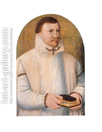 Portrait of a bearded cleric by (after) Barthel Bruyn - Reproduction Oil Painting
