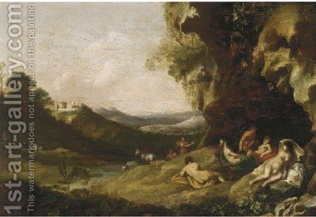 A classical landscape with nymphs and satyrs in a grotto by (after) Bartholomeus Breenbergh - Reproduction Oil Painting