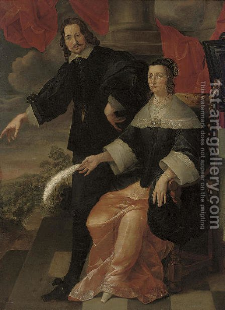 A double portrait of a gentleman and a lady by (after) Bartholomeus Van Der Helst - Reproduction Oil Painting