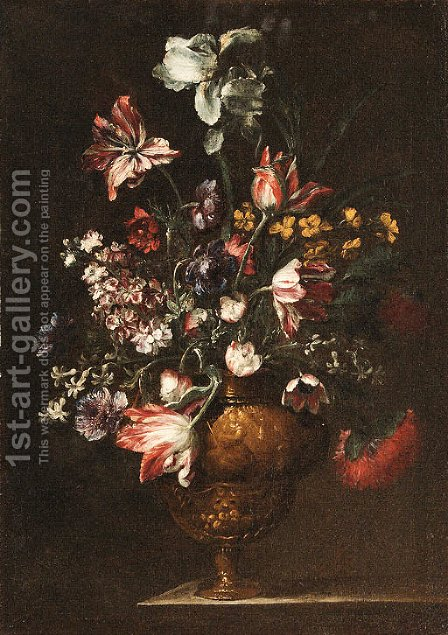 Tulips, Roses, Carnations and other Flowers in bronze Vases on stone Ledges by (after) Bartolome Perez - Reproduction Oil Painting