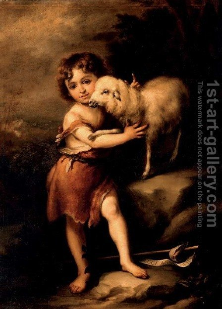 The Infant Saint John with the Lamb by (after) Murillo, Bartolome Esteban - Reproduction Oil Painting