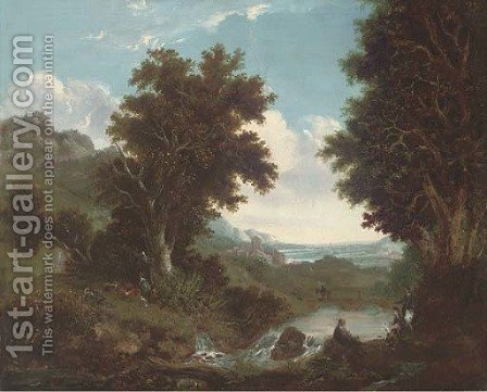 Figures by a brook, an extensive landscape beyond by (after) Benjamin Barker Of Bath - Reproduction Oil Painting