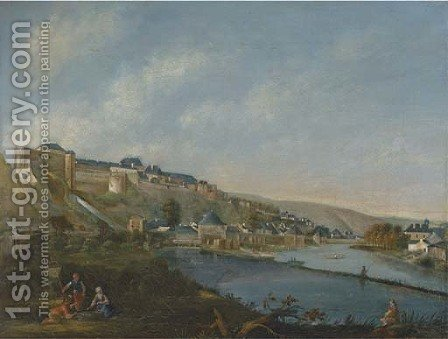 A river landscape with a German fortified town by (after) Bernardo Bellotto (Canaletto) - Reproduction Oil Painting