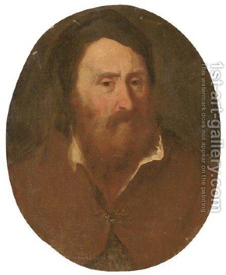 Study of a bearded man by (after) Bernardo Strozzi - Reproduction Oil Painting