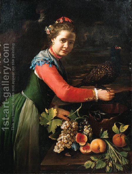 A young woman with a pheasant perched on her hand by (after) Bernhard Keil, Monsu Bernardo - Reproduction Oil Painting