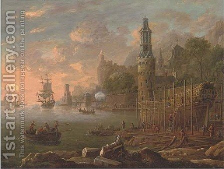 A Mediterranean coastal harbour with figures building a man'o-war, shipping beyond by (after) Bonaventura Peeters - Reproduction Oil Painting