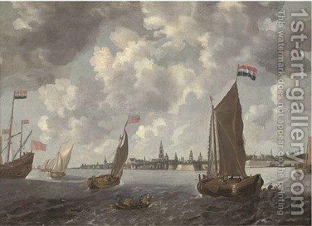 Frigates, smalschips and other shipping in choppy waters in an estuary by (after) Bonaventura Peeters - Reproduction Oil Painting
