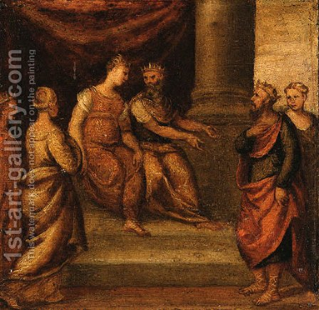 A King being presented to a Queen by (after) Bonifacio Veronese (Pitati) - Reproduction Oil Painting