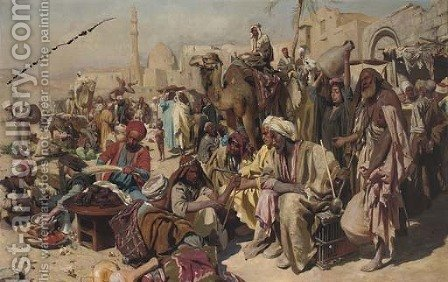 Street musicians at the bazaar by (after) Carl Leopold Mutller - Reproduction Oil Painting