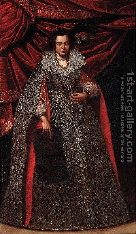 Portrait of a lady, full-length, in a gold and silver embroidered dress and with a plumed headdress, before a red curtain by (after) Carlo Ceresa - Reproduction Oil Painting