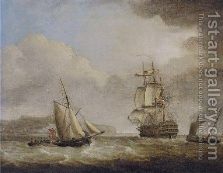 A British Royal Naval two-decker in the Channel off Dover by (after) Charles Brooking - Reproduction Oil Painting