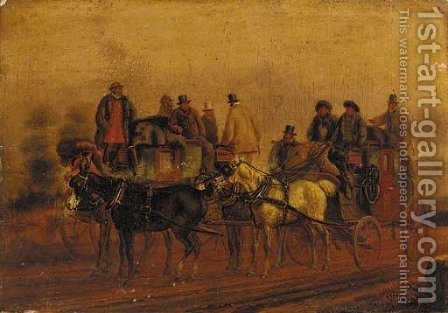 Two coaches on a road by (after) Charles Cooper Henderson - Reproduction Oil Painting