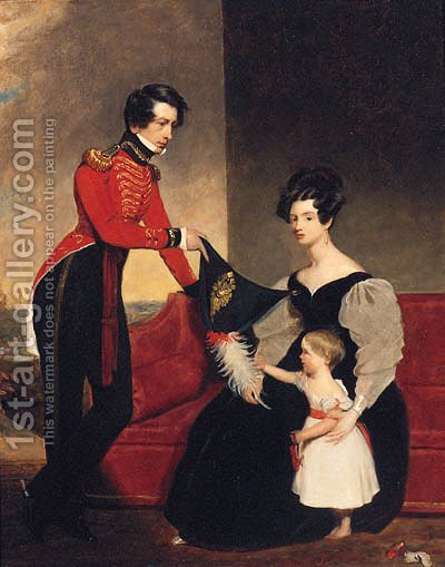 Group Portrait Of An Officer With His Wife And Daughte by (after) Charles E. Ambrose - Reproduction Oil Painting