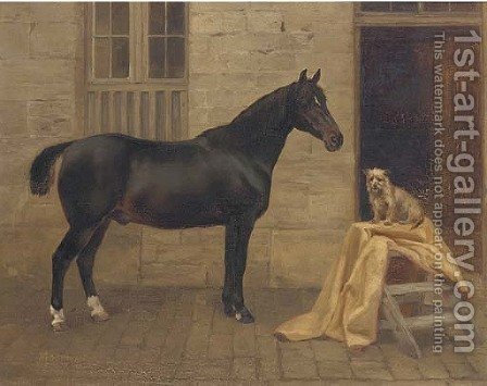 Moorman, a cob and Pixie, a terrier outside a stable by (after) Charles Augustus Henry Lutyens - Reproduction Oil Painting