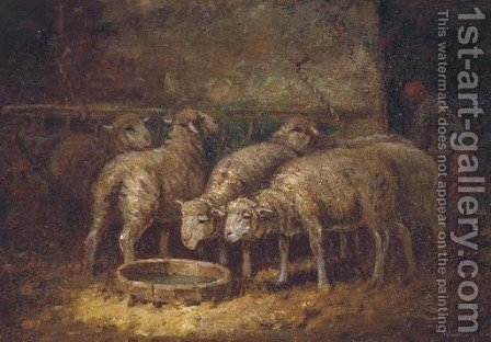 Sheep watering in a stable by (after) Charles Emile Jacque - Reproduction Oil Painting