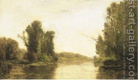 Aux bordes de l'Oise by (after) Charles-Francois Daubigny - Reproduction Oil Painting