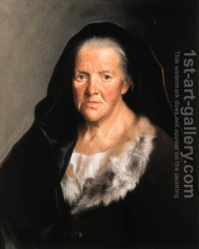 A study of an old woman by (after) Christian Seybold - Reproduction Oil Painting