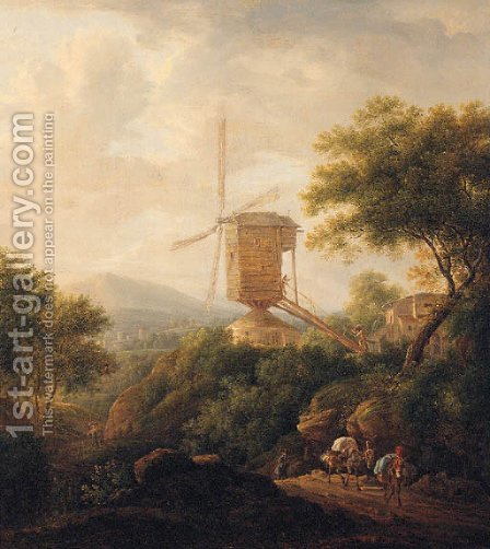 A landscape with a traveller and mules on a track by a windmill by (after) Christian Wilhelm Ernst Dietrich - Reproduction Oil Painting