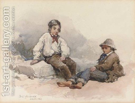 Two young fisherboys resting on the beach by (after) Clarkson Stanfield - Reproduction Oil Painting