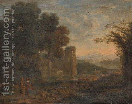 A landscape with a shepherd and shepherdess with their flock by (after) Claude Lorrain (Gellee) - Reproduction Oil Painting