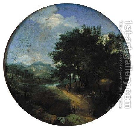 Classical figures in a pastoral landscape with some buildings beyond by (after) Claude Lorrain (Gellee) - Reproduction Oil Painting