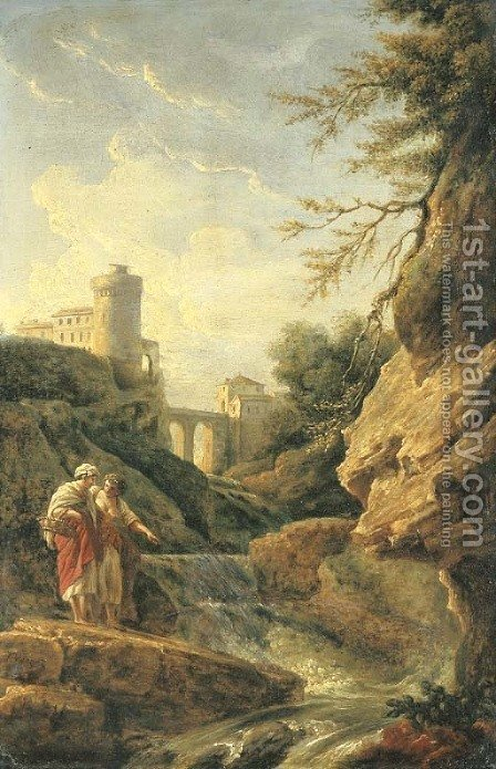 Two female peasants by a waterfall, a town and aqueduct beyond by (after) Claude-Joseph Vernet - Reproduction Oil Painting