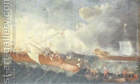 A naval battle by (after) Cornelis De Wael - Reproduction Oil Painting