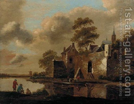 A river landscape with fishermen on a bank and a ferry arriving at a fortified village by (after) Cornelius Decker - Reproduction Oil Painting