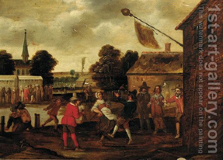 Peasants making merry in a village square by (after) Cornelis Droogsloot - Reproduction Oil Painting