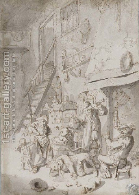 Boors drinking in an inn by (after) Cornelis Dusart - Reproduction Oil Painting