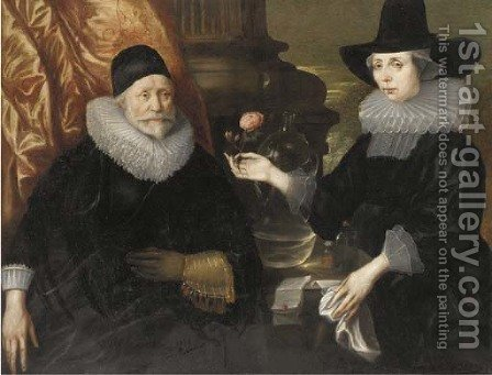 Double portrait of a lady and gentleman by (after) Cornelius Janssens Van Ceulen - Reproduction Oil Painting