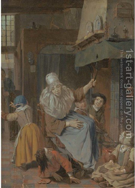 An interior with a mother scolding her children by (after) Cornelis (Pietersz.) Bega - Reproduction Oil Painting