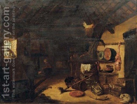 A barn interior with pots, pans and vegetables, a woman by a stove beyond by (after) Cornelis Saftleven - Reproduction Oil Painting