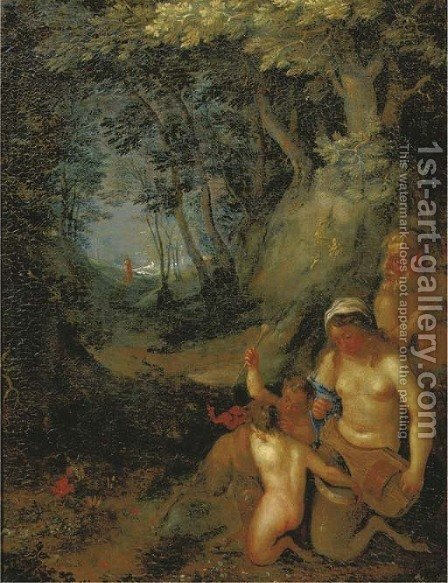 A wooded landscape with satyrs and a nymph playing music by (after) Cornelis Van Poelenburgh - Reproduction Oil Painting