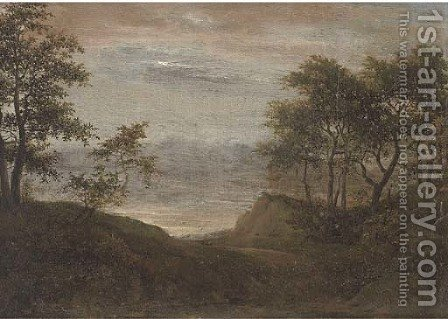 A wooded landscape with a path by (after) Cornelis Vroom - Reproduction Oil Painting