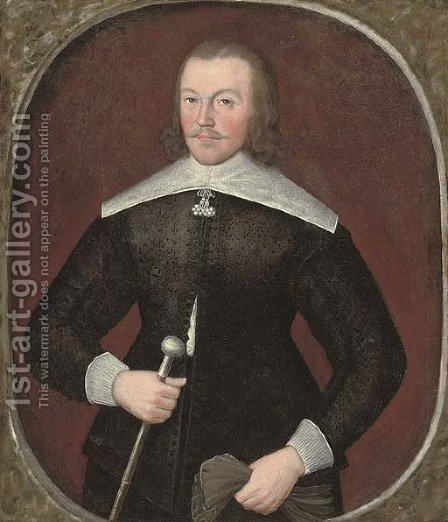 Portrait of a gentleman, aged 35, three-quarter-length, in a black jerkin and white collar and cuffs, holding a pair of gloves in his left hand by (after) Johnson, Cornelius I - Reproduction Oil Painting