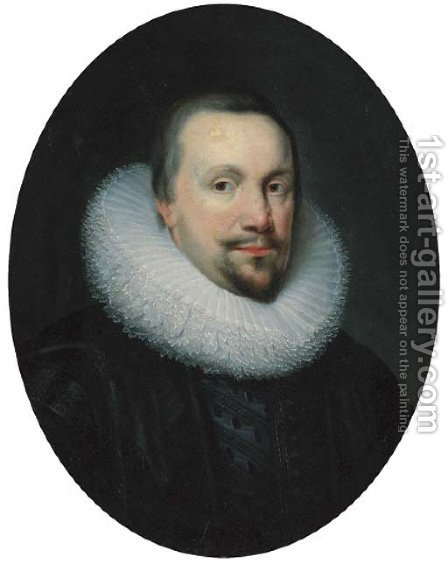 Portrait of a gentleman, traditionally identified as Thomas Coventry, first Baron Coventry (1578-1640), Lord Keeper, in a black doublet and white ruff by (after) Johnson, Cornelius I - Reproduction Oil Painting