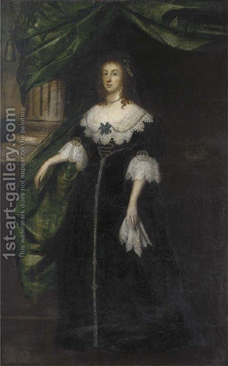 Portrait of a lady, full-length, in a black dress with lace collar and cuffs and pearl trimmed, by a green draped column by (after) Johnson, Cornelius I - Reproduction Oil Painting