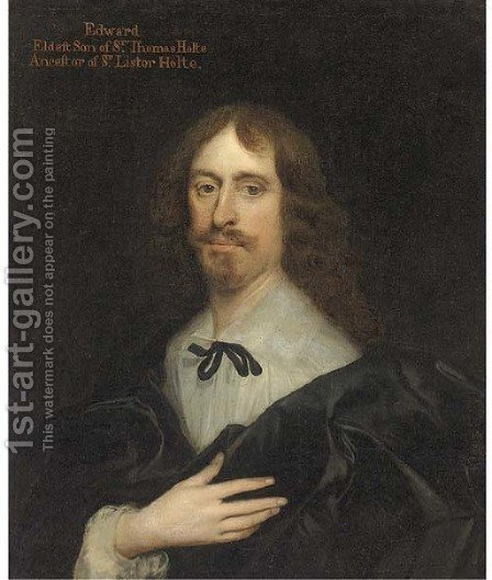 Portrait of Edward Holte Esq., half-length, wearing a black coat, white shirt and black tie, his right hand on his chest by (after) Johnson, Cornelius I - Reproduction Oil Painting