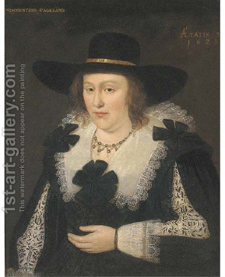 Portrait of Lettice Morison, Viscountess Falkland (1610-1646), Wife of Lucius Cary, 2nd Viscount Falkland, half-length by (after) Johnson, Cornelius I - Reproduction Oil Painting