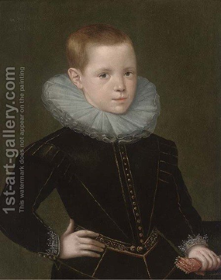 Portrait of Thomas Oxenden, half-length, in a black doublet and white ruff by (after) Johnson, Cornelius I - Reproduction Oil Painting