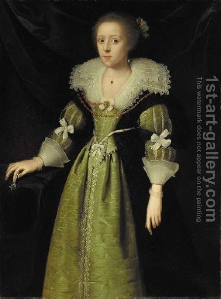 Portrait of a lady by (after) Daniel Mytens - Reproduction Oil Painting