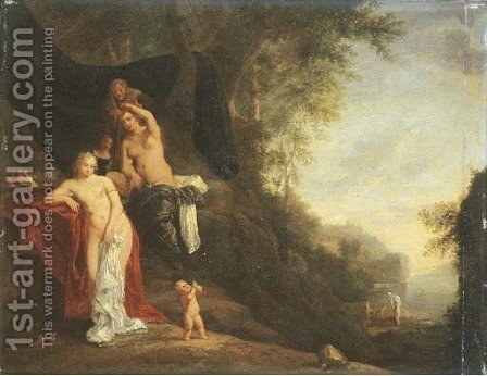 A wooded landscape with nymphs resting and a putto blowing bubbles, nymphs bathing beyond by (after) Daniel Vertangen - Reproduction Oil Painting
