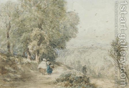 Figures on a rural track by (after) David Cox - Reproduction Oil Painting
