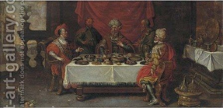 The Feast of King Midas by (after) David Teniers I - Reproduction Oil Painting