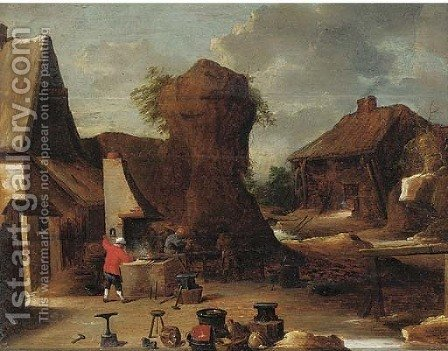 A village blacksmith by (after) David The Younger Teniers - Reproduction Oil Painting